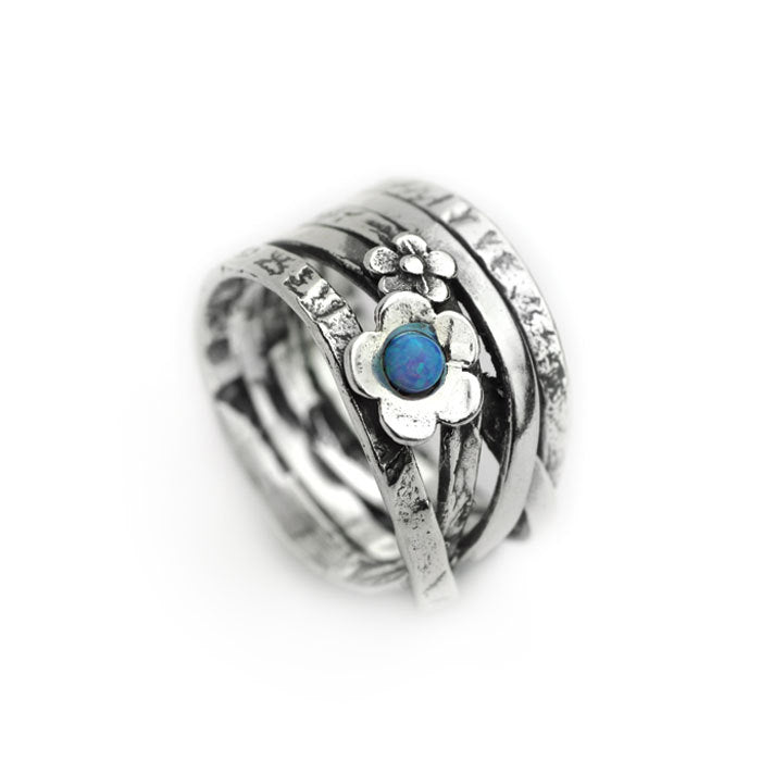 Silver Flower Band Ring