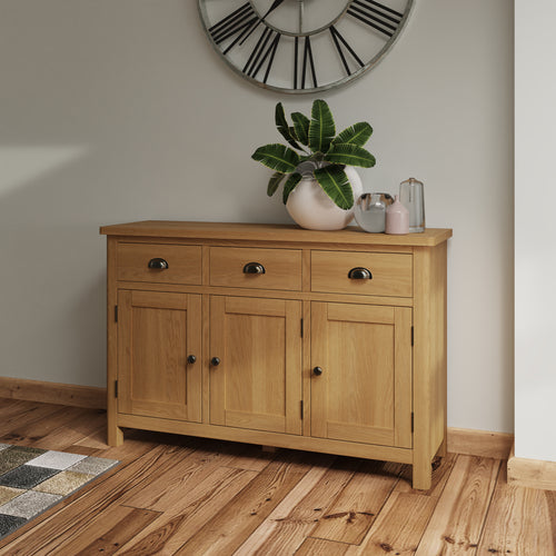 Rustic Oak 3 Drawer 3 Door Sideboard