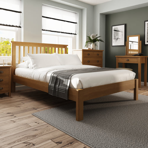 Rustic Oak 4'6 Bed