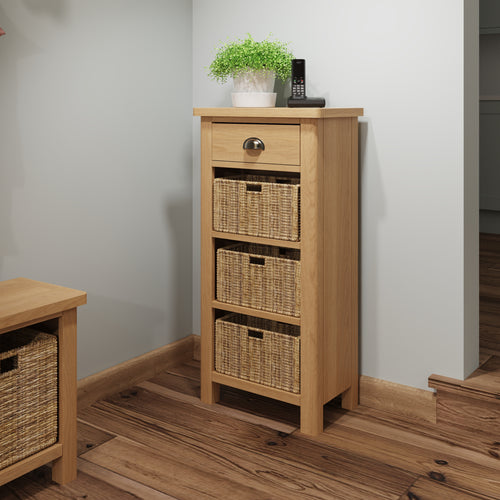 Rustic Oak 1 Drawer 3 Basket Unit