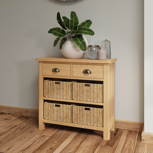 Rustic Oak 2 Drawer 4 Basket Unit