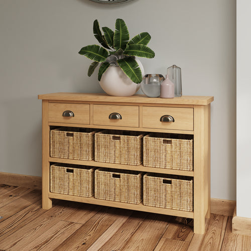 Rustic Oak 3 Drawer 6 Basket Unit