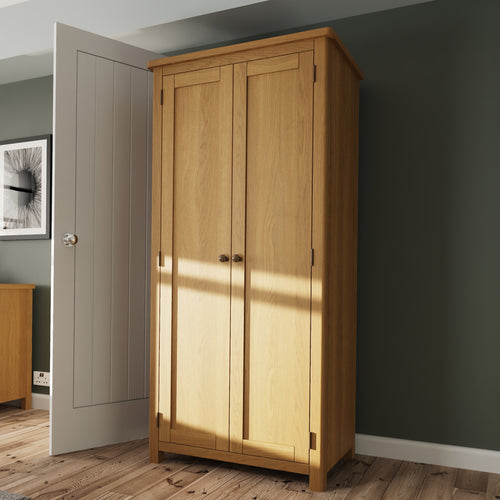 Rustic Oak 2 Door Full Hanging Wardrobe