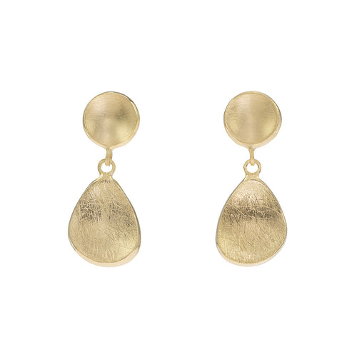 Gold Drop Textured Earrings