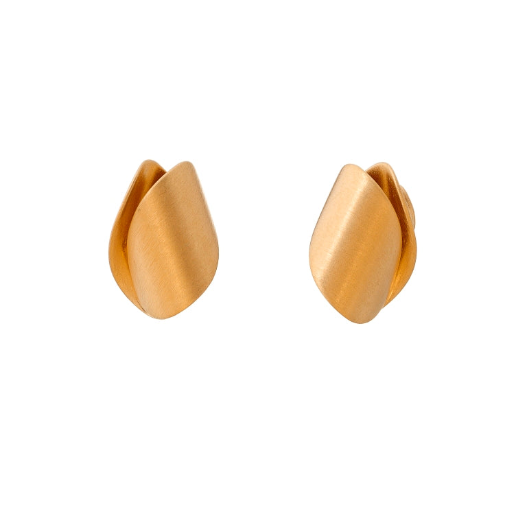 Gold Plated Folded Stud Earrings