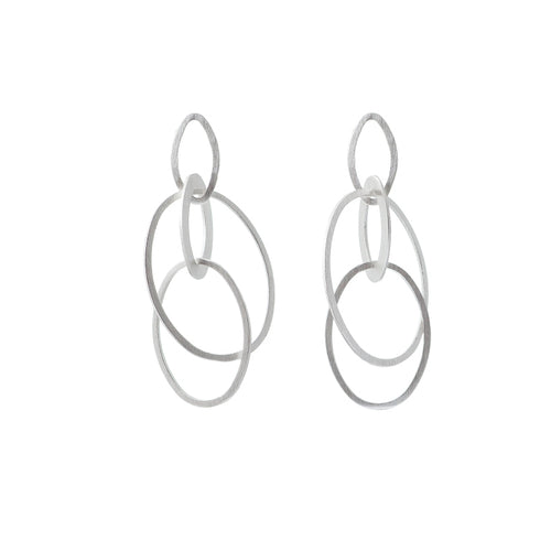 Silver Linked Circle Earrings
