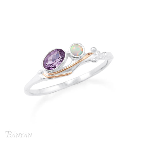 Amethyst And Opal Ring