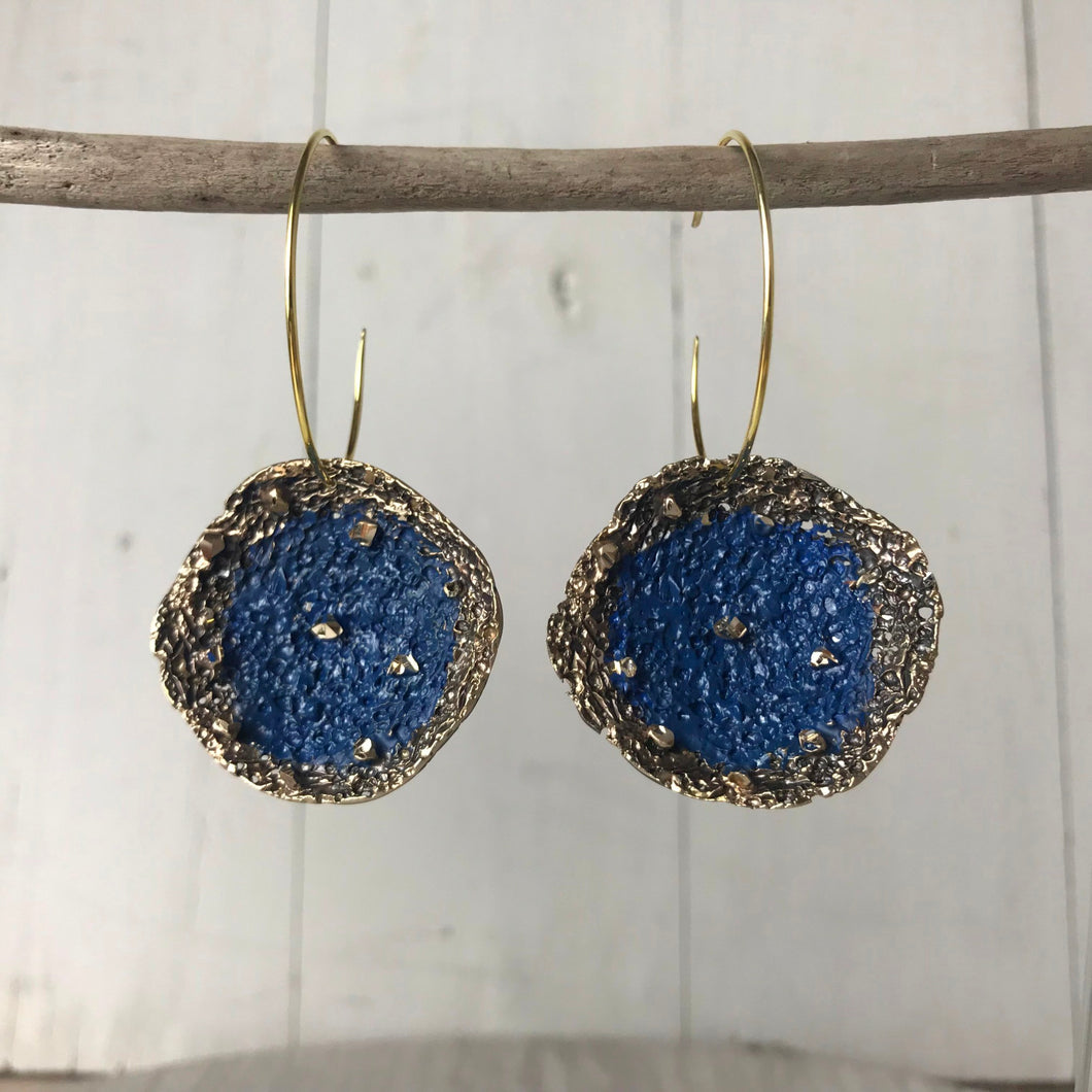 Blue Disc Earrings