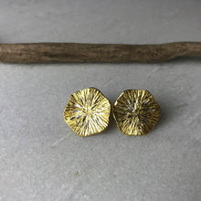 Load image into Gallery viewer, Gold Textured Disc Earrings