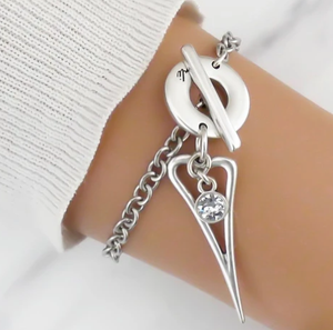 Mini Open Pointed Heart and Crystal Bracelet