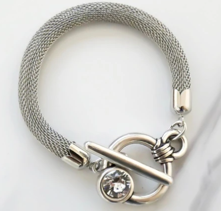 Crystal Clasp Mesh Chain Bracelet