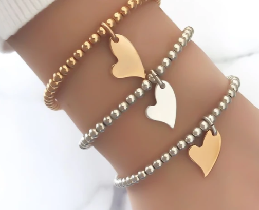 Mini Curved Heart Bead Bracelet