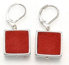 Orange Felt Square Earrings
