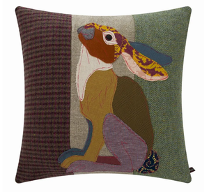 Hare Embroidered Tweed Cushion
