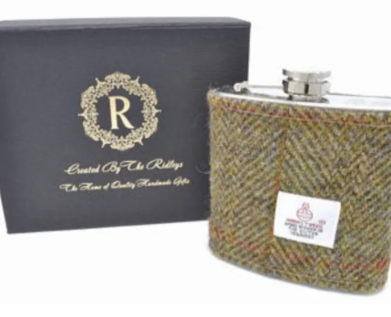 Harris Tweed Hip Flask -Khaki