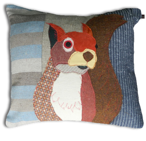 Squirrel Embroidered Cushion