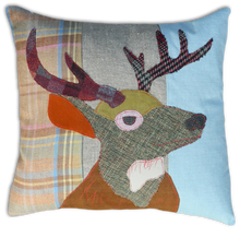 Load image into Gallery viewer, Stag Embroidered Tweed Cushion