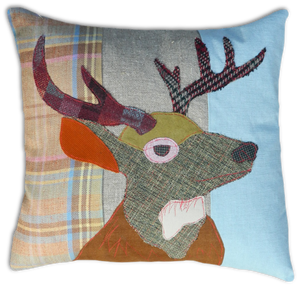 Stag Embroidered Tweed Cushion