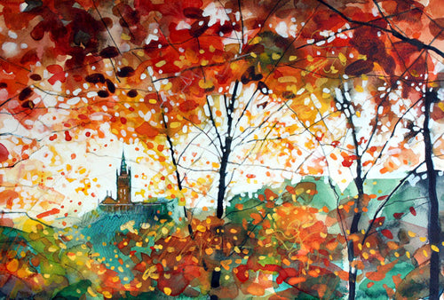 Autumn Kelvingrove Sunset Mounted Print