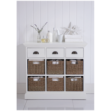 Load image into Gallery viewer, White Oak Small Sideboard - 6 Basket, 3 Drawers