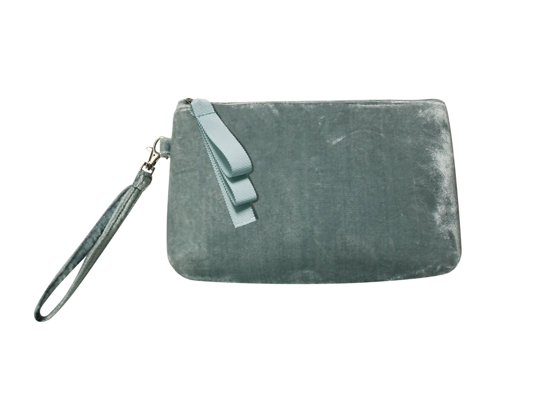 Grey Velvet Clutch Bag