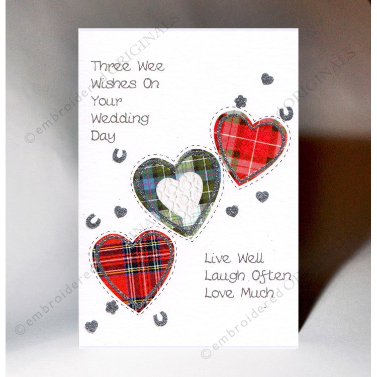 3 Tartan Hearts Wedding Card Textured