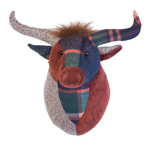 Patchwork Highland Cow Trophy Head