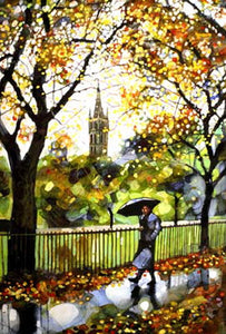 Wet Walk Kelvingrove Evans Mounted Print