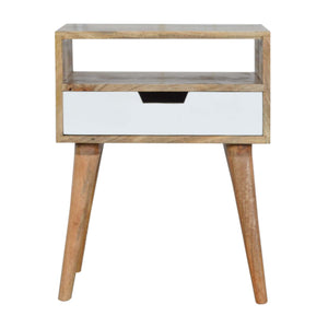 White Nordic Bedside Table - 1 Drawer, 1 Shelf