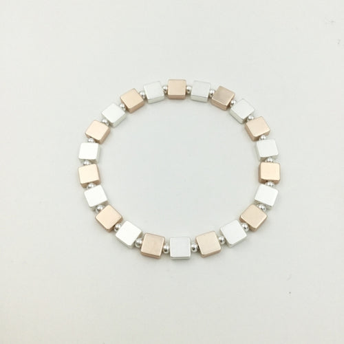 Rose Gold and Silver Cube Bracelet