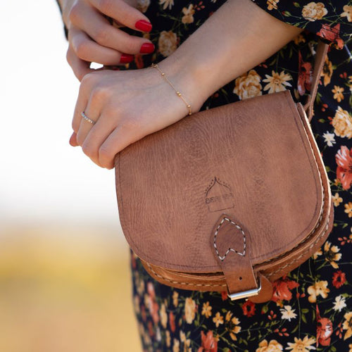 Tan Half Moon Saddle Bag