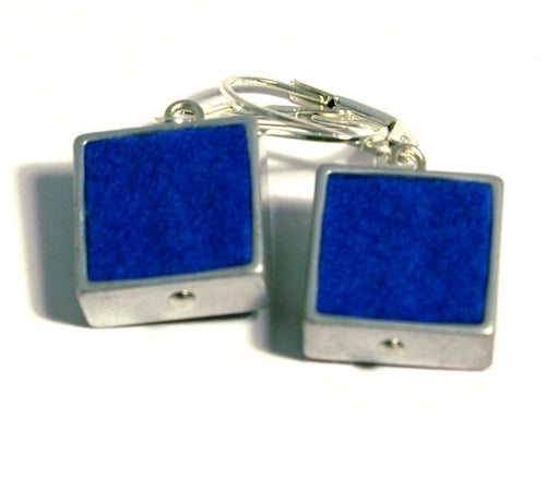 Blue Square Felt Earrings