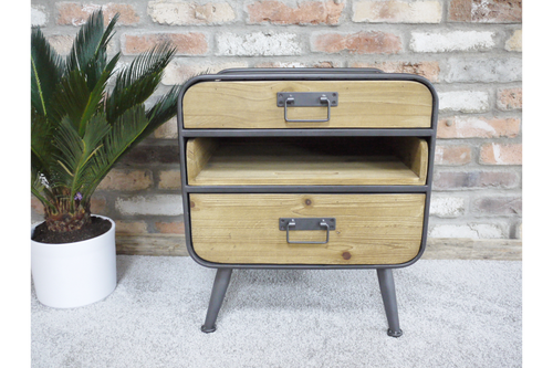 Retro Industrial 2 Drawer Cabinet with Shelf