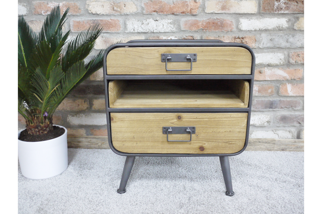 Retro 2 Drawer Cabinet with Shelf