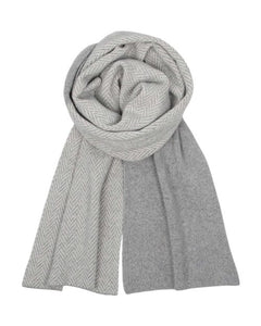 Silver & White Twill Long Scarf