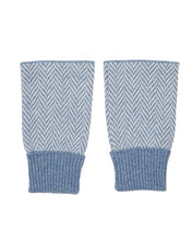 Load image into Gallery viewer, Denim & White Twill Wristwarmers