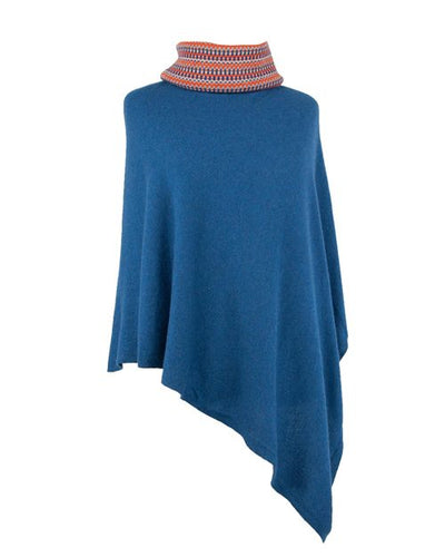 French Navy Cashmere Blend Poncho