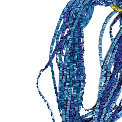 Blue Mix Fabric Strand Necklace