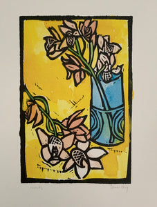 """Orchids"" Lino Cut Framed Print"