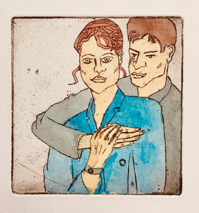 """New Couple"" Lino Cut Framed Print"