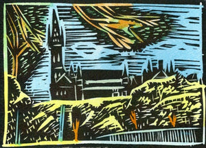 """Glasgow University Through Trees"" Lino Cut Framed Print"