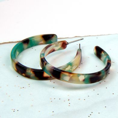 Turquoise Resin Hoops