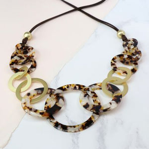Brown Resin Multi Hoop Necklace