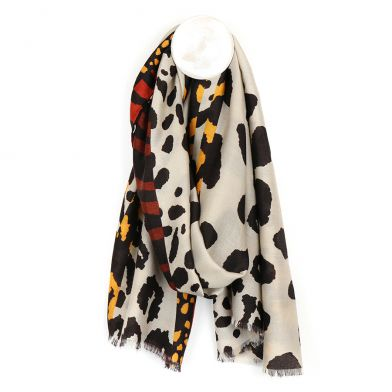 Taupe Animal Print Scarf