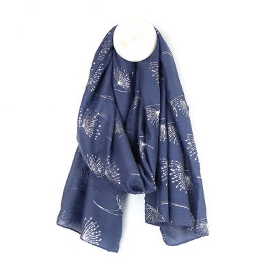 Grey Blue Dandelion Scarf