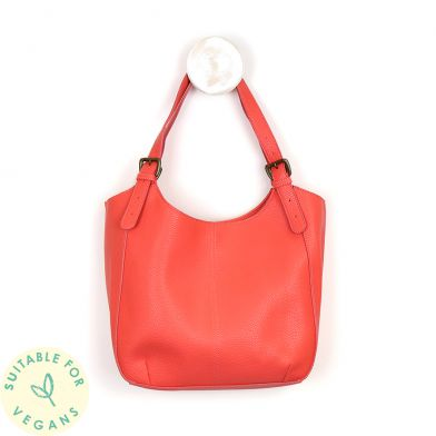 Coral Vegan Leather Shoulder Bag