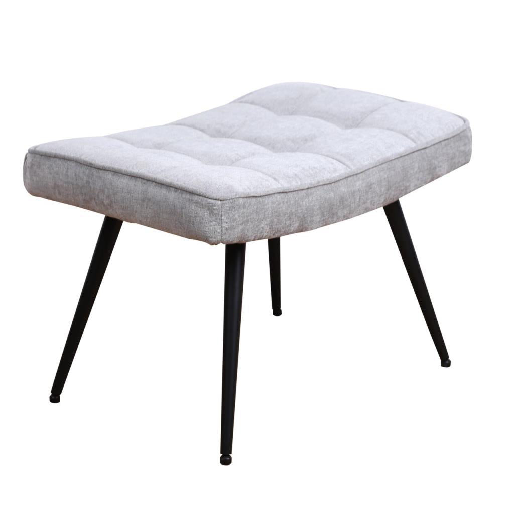 Chenille Grey Pinto Footstool