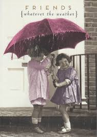 Girls Under Umbrella Card