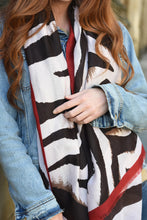 Load image into Gallery viewer, Black & Burgandy Zebra Scarf