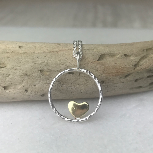 Brass Heart Hoop Necklace